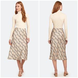 NEW Bec + Bridge Python Snake Skin Midi Skirt